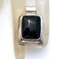Sterling Silver Faux Black Onyx Slide Pendant Hallmarked Vintage Mexican Jewelry