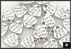 BULK PACK OF ~20~ MADE WITH LOVE TIBETAN SILVER CHARMS (PLUS FREE GIFT)