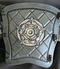 Hand carved quilted Tudor Rose Leather traditional bow archery arm guard,bracer