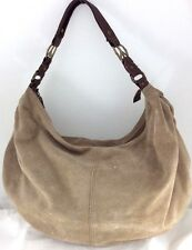LUCKY BRAND  XL Tan Chamois Leather Suede Slouchy Hobo Tote Shoulderbag Handbag