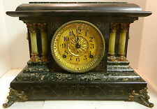 Antique Seth Thomas Etched Adamantine 4 Column Mantel Clock Black Green Excellen