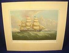 MARINE PRINT DUNCAN MCFARLANE US PACKET SHIP PLEIADES Navy Seascape Sailing Ship