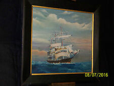 Oakley Marshall Listed Artist Antique Original Oil On Canvas Seascape Painting