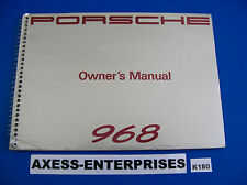 1992 Porsche 968 Coupe Cabriolet Owners Instructions Manual Drivers Book # K180