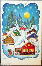 1986 Russian card HAPPY NEW YEAR! ... Evening... Santa walks in the village...