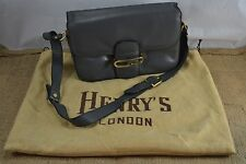 VINTAGE HENRY'S LONDON grey leather shoulder bag/handbag 1980s with dust bag