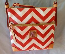 DOONEY & BOURKE CHEVRON COATED COTTON  LETTER CARRIER CROSS BODY BAG RED  NEW