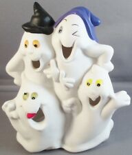 Candle Holder Tea Light Bisque Halloween Tealight Ghosts White Ceramic Smiling