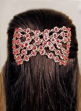 Womens New Easy Magic Beads Double Hair Grip EZ Comb Clip Stretchy Red R