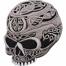 Skull Head Tattoo Biker Horror Goth Punk ,EMBROIDERED Iron/sew PATCH/Badge UK