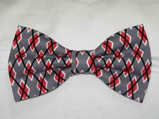 (1) PRE-TIED BOW TIE - GRAPHITE ARGYLE - RED, GRAY, BLACK & WHITE