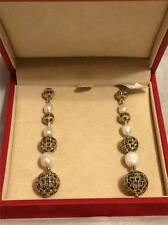 Valentino Pave Crystal Faux Pearl Jewel Rhinestone Embelished Ball Earrings $695