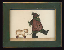 1993 Small Signed Watercolor Child Pulling Victorian Bear Toy, Framed