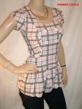 NEW WHITE/PINK/SILVER GREY CHECK BUTTON CAP SLEEVED COTTON TOP 6