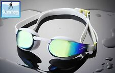 SPEEDO FASTSKIN 3 ELITE SWIMMING GOGGLES – WHITE FRAME MIRROR LENS ANTIFOG NEW