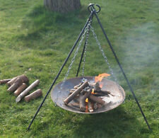 Pro BUSHCRAFT / CAMPING - Campfire Tripod & Fire Disc Set - Heavy Duty