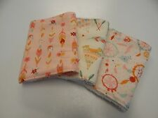 Teepees Dreamcatchers Feathers - Peach Burp Cloths 3 Pack Toweling Backed