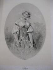 GAVARNI Londres gravure Lithographie originale Portrait femme La croix d'Or