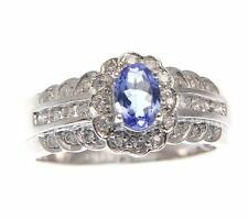 0.60CT GENUINE OVAL TANZANITE SOLITAIRE DIAMOND RING SET IN SOLID 14K WHITE GOLD