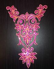 pink sequin HOTFIX embroidered lace YOKE chest applique motif costume asian