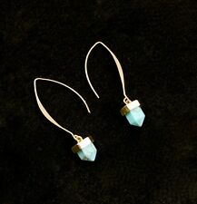 NEW Contemporary Turquoise Pyramid Hoop Earrings Pierced Dress Gold Tone US