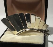 Modernist Artisan TAXCO MEXICO Graduated Curved 925 Sterling Silver Brooch 13.8g