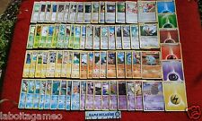 LOT 75 CARTES POKEMON DIFFERENTES SANS DOUBLE NI EX 6 ESPECES PSY EAU TERRE FEU