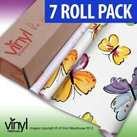 7 PACK of D-C-Fix BUTTERFLY PRINT Sticky Vinyl Fablon - 45cm x 2m