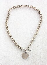 Sterling Silver Heart Tag Toggle Chain Link Necklace 17.5 inch 79.6 grams