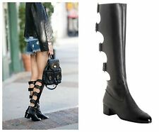 NEW Chanel Cutout Black Buckle Boots 37.5 7.5 7 AMAZING ONE OF A KIND