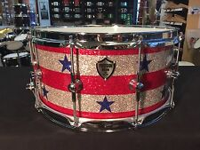 Precision Drum Company 14x7 Stars and Stripes Glass Glitter Snare Drum Trick t/o
