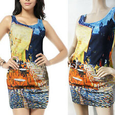 Art French Cafe Painted Digital Print Chic Sleeveless Stretchy Mini Tank Dress