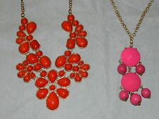 LOT 2 GOLD TONE BEAD BIB CHANDELIER DANGLE STATEMENT NECKLACE PINK & RED