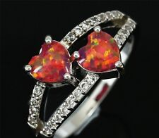 *** UK SELLER*Silver/Rhodium Plated ORANGE FIRE OPAL/CZ HEARTS Ring Size Q (US8)