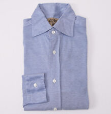 Mint $395 BERTOLO Sky Blue Knit Jersey Sea Island Cotton Shirt Slim-Fit M