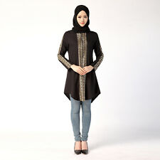 Kaftan Muslim Women Dress Long Sleeve Abaya Shirt Tops Blouse Islamic Clothes