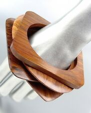CHIC 4 PC Natural Carved Polished Brown Wood OVAL SQUARE Bangle Bracelet