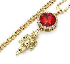 "Mens Gold Plated Iced Out Red Round Ruby Angel Pendant Hip-Hop w/ 27"" Ball Chain"