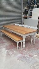 solid oak top 7x3 farmhouse dining table & 4 chairs & bench/made to measure
