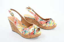 Women's Knotted Slingback Peep Toe Low Wedge Platform Sandal Shoes Size 5-11