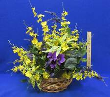 Artificial Floral Decor Basket Spring Time Flowers Yellow & Purple Wicker 22""
