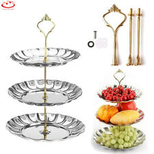 3 Tier Cake Cupcake Plate Stand Handle Hardware Fitting Holder Silver Crown