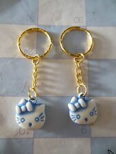 """Hello Kitty """""""" Blue / Gold """""""" Key Chain Ring** Lot-of-2** Free Shipping"""