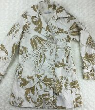 CAbi #461 Size XS Wimbledon Courtside Belted Trench Coat metallic gold floral