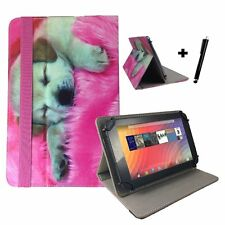 "7 inch Case Cover Book For Prestigio MultiPad Wize 3147 Tablet 7"" Dog Puppy Pink"