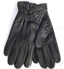 Leather style pair of black gloves warm inside brand new