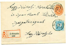 1895 Hungary/Transylvania rare uprated Registered stationery to Nagy-Karoly