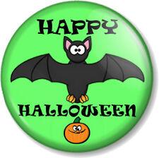 "HAPPY HALLOWEEN 1"" 25mm Pin Button Badge Cute Bat and Pumpkin Fancy Dress Party"