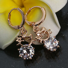 Hot Kity Cat 18K Gold Plated Round Crystal Hoop Drop Earrings Woman Lady Jewelry