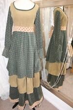 Green floral corduroy tiered maxi dress - Ditsy Vintage 16 1970s festival